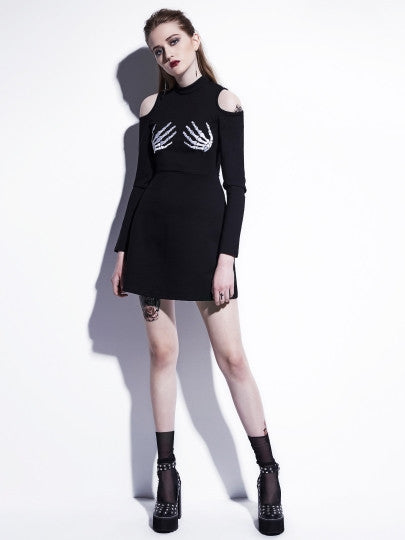 Cut Out Shoulder Skeleton Pattern Long Sleeve Day Dress - The Clothing Company Sydney