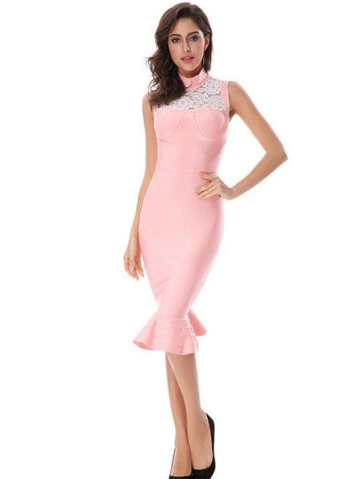 Pink Turtle Neck Women's Bodycon Formal  Dress