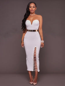 Strapless Bandage Split Sheath Dress