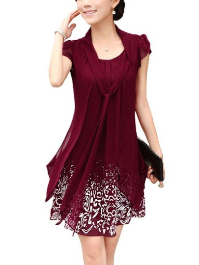 Chiffon V-Neck Above Knee Cap SleeveDay Dress - The Clothing Company Sydney
