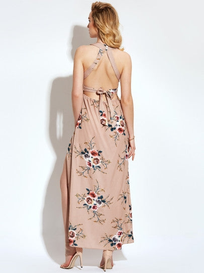 Khaki Split Backless Vacation Sleeveless O Neck Maxi Dress
