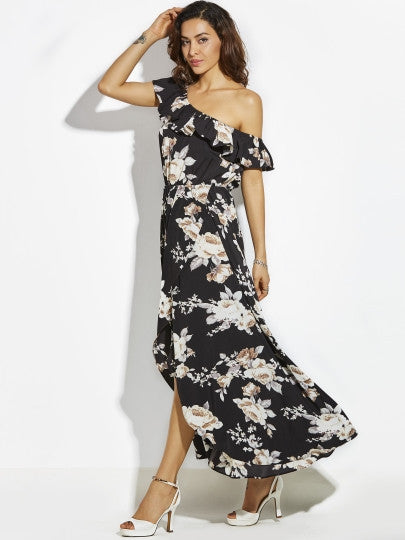 Oblique Collar Asymmetrical One Shoulder Ruffle Maxi Dress
