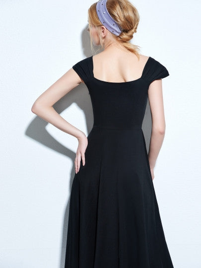 Open Back Cap Sleeve Vintage Dress