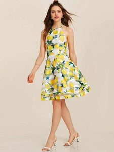 Organza A-Line Button  O Neck Sleeveless Floral Print Bowknot Women's Day Dress