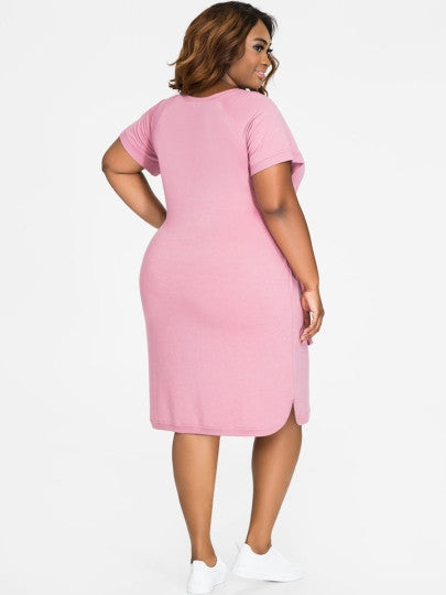Plain Lace up Plus Size Women's Sheath Dress  in 2 Colours