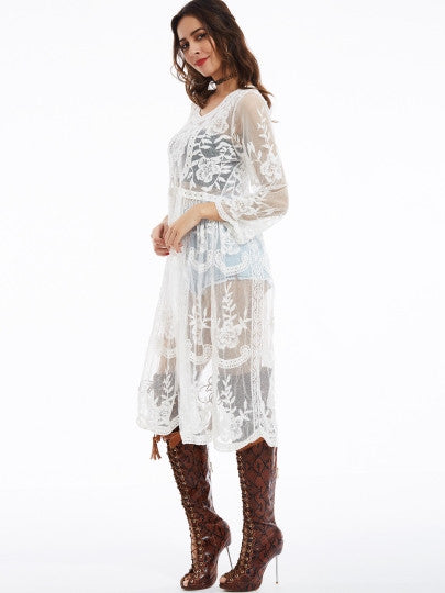 See-Through Round Neck Flare Long Sleeve Lace Dress