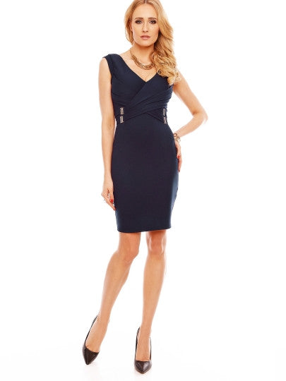 V-Neck Plain Bodycon Zipper Cocktail Dress