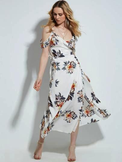 V-Neck Floral Print  Cut Out Shoulder Backless Split Maxi Dress