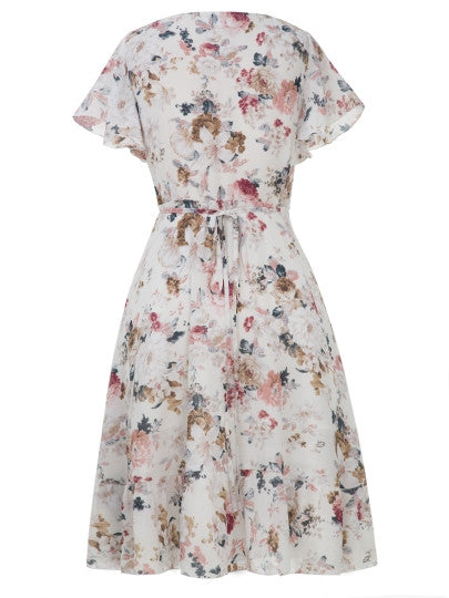 V-Neck Floral Print Short SleeveLace-Up  Dress