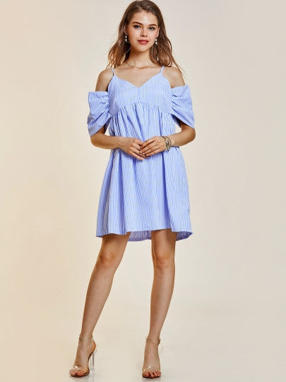 Blue Striped Cut Out Shoulder Spaghetti Strap Day Dress - The Clothing Company Sydney