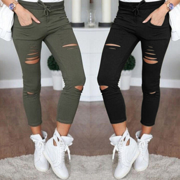 Skinny Ripped High Waist Stretch Slim Pencil Cropped Pants Leggings in 6 colours