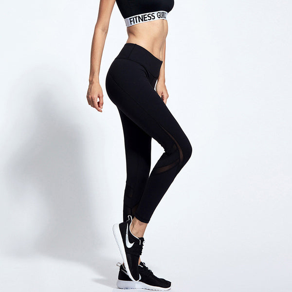 Women's Mesh Legging Pants Long Yoga Pants Sports Workout Tights Trousers