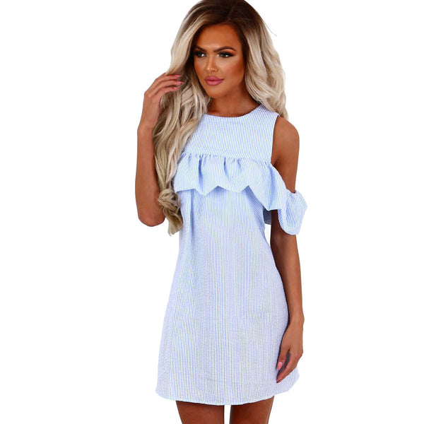 Women's Summer Casual Mini Cut Out Shoulder Short Sleeve Crew Neck Striped Ruffled Sundress in 2 Colours