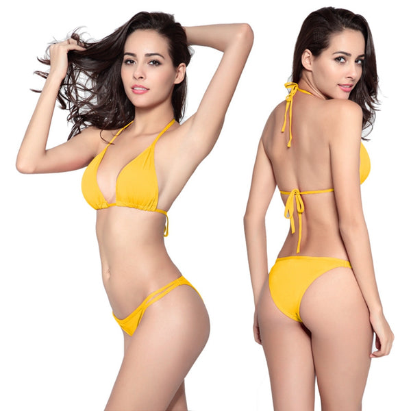 Lady Bikini Swimsuit Sexy Halter Neck Two Piece Swimwear in 4 Colours