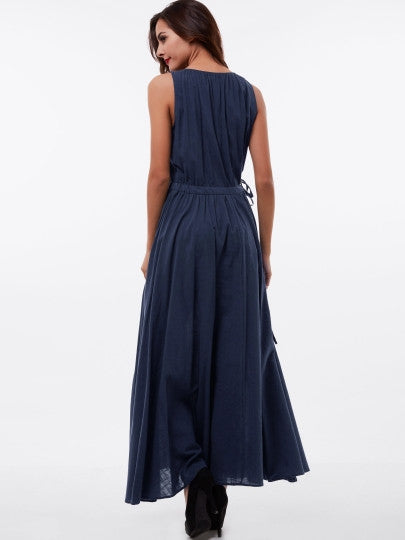 Plain Pleated Sleeveless Scoop Maxi Dress