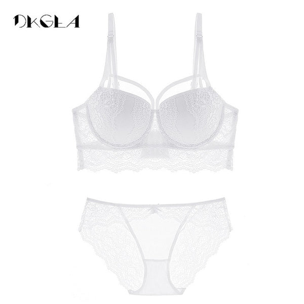 2 Piece Push-up Bra  3/4 Cup  Lace Deep V Brassiere and Panty Lingerie Set
