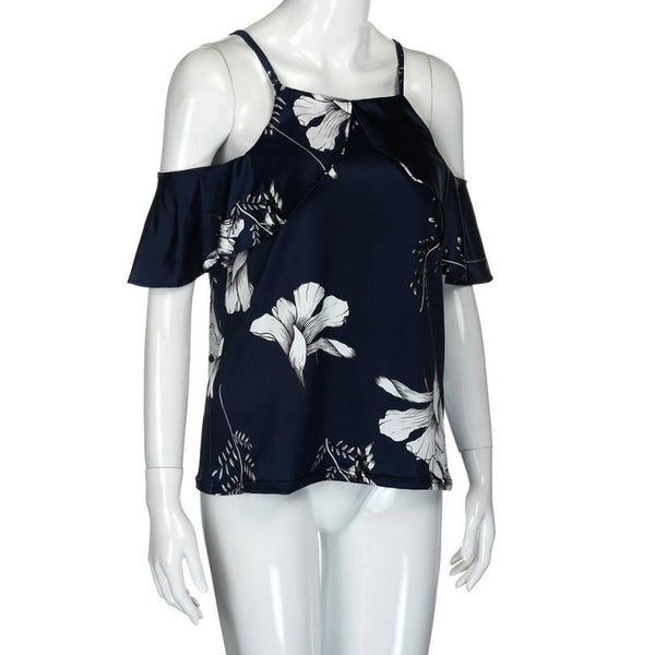 Ruffle Fashion Off Shoulder Print Casual Summer Short Shirt Dark Blue Top