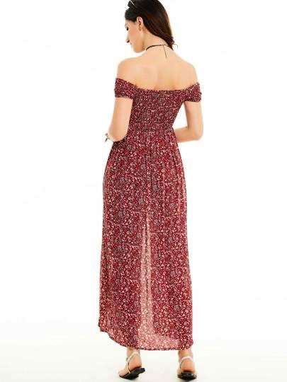 Pleated Off Shoulder Split Maxi Dress