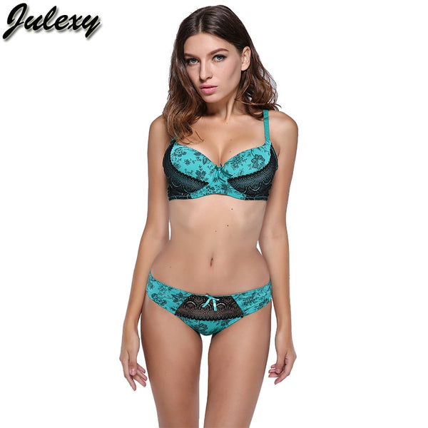 2 Piece Lace push up bra Print and Thong G String Brief intimate underwear set
