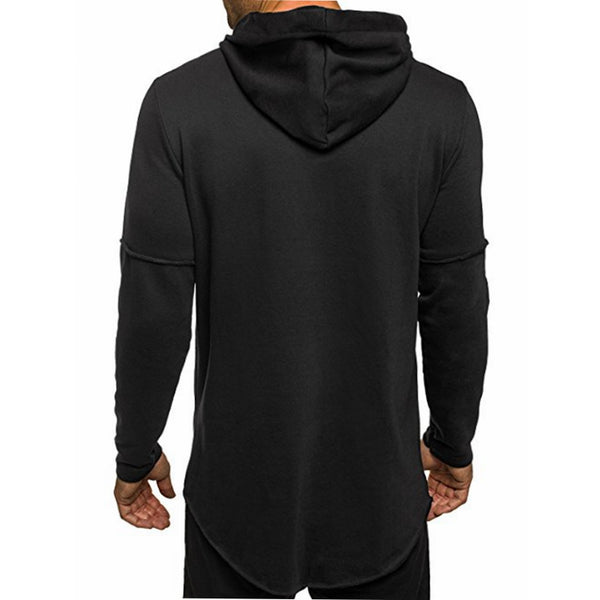 Men's Long Hooded Sweatshirt Ripped Zip Asymmetric Hip Hop Street wear  Pullover Top