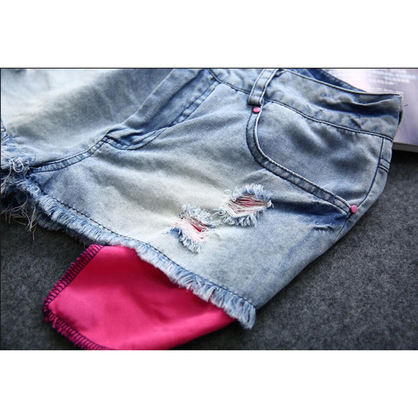 High Waist Destroyed Denim Mini Jeans Hole Tassel Shorts