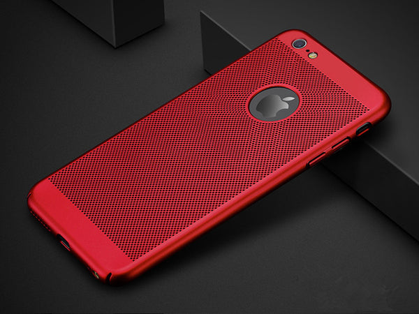 iPhone Ultra Slim Grid Heat Dissipate Phone Case For iPhone Matte Hard PC Protective Cover