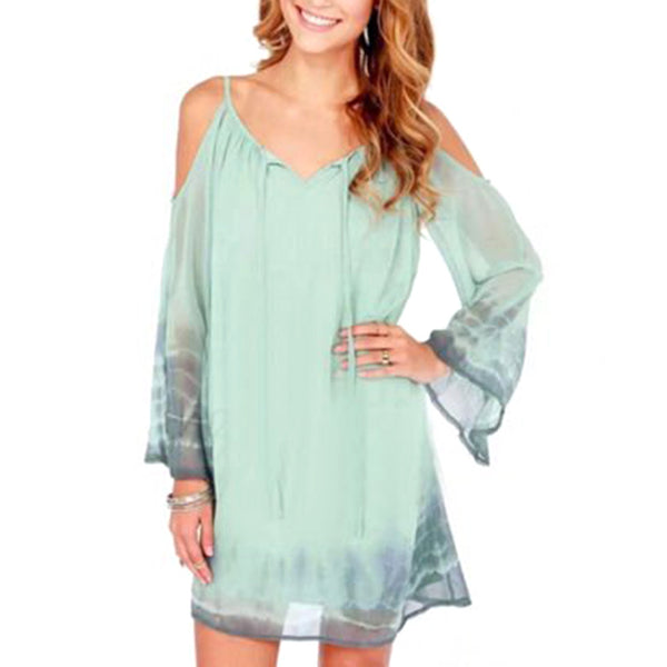 Long Sleeve Chiffon Open Shoulder Mini Shirt Dress