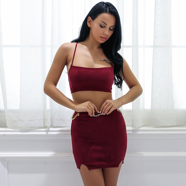 Suede 2 Piece Lace Up  Spaghetti Strap Crop Top Mini Skirt