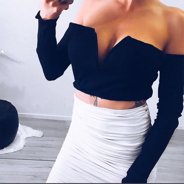 Off Shoulder V Neck Knitted T Shirt Slim Fit Cami Casual Cool Long Sleeve Crop Top