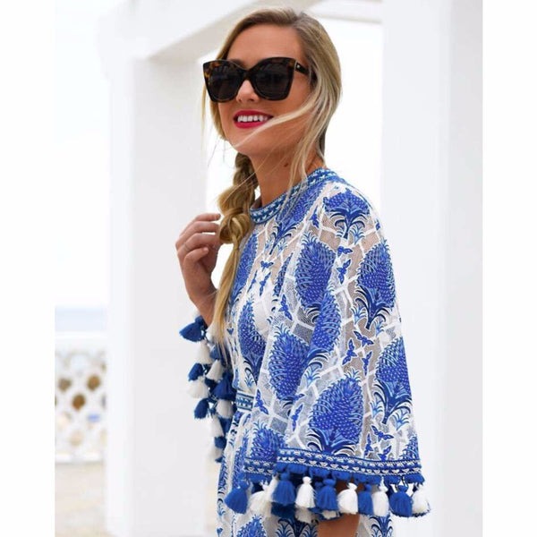 Flare Sleeve  Tassel Blue Floral Pattern Loose Fit Playsuit Romper - The Clothing Company Sydney