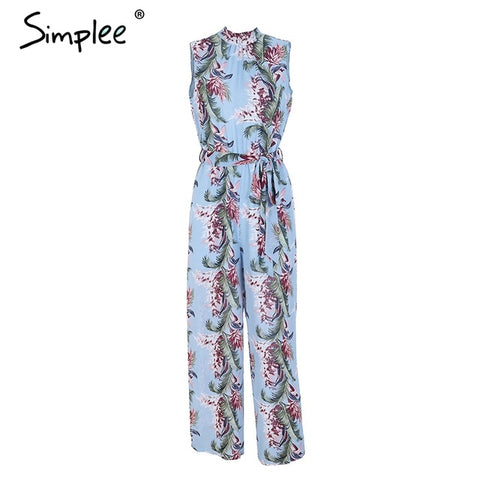 Backless boho print long High waist loose casual Jumpsuit