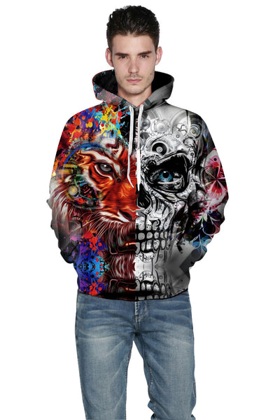 3D Hooded Unisex Skulls Tiger Print Pullover Sweatshirt Top