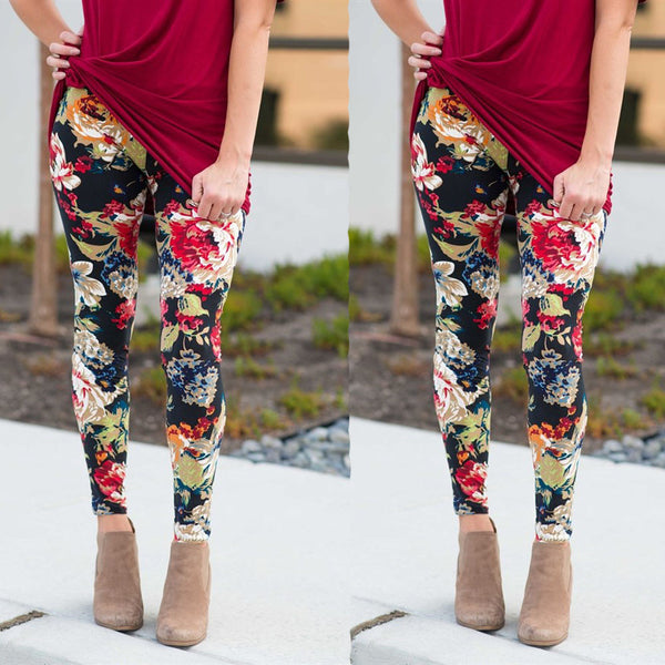 Women Autumn Winter Elastic Leggings Print Floral Trousers Sport Pencil Pants