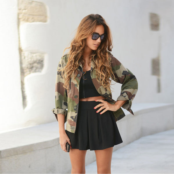 Camouflage Print Long Sleeve Autumn Spring Street Casual Jacket - The Clothing Company Sydney