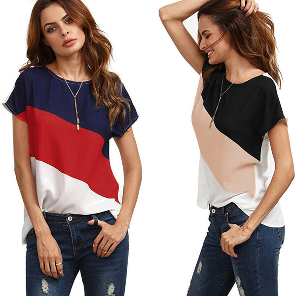 Chiffon Multi Colour Short Sleeve Casual Blouse Top - The Clothing Company Sydney