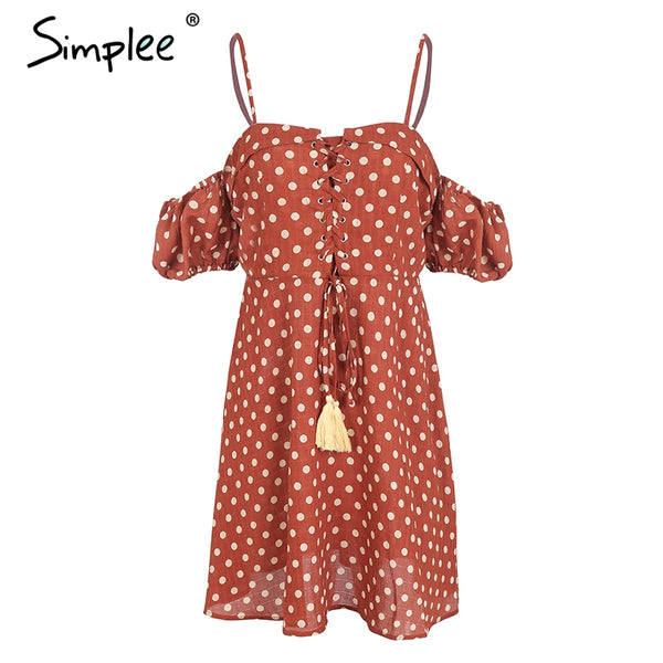 Spaghetti Strap cold shoulder Polka dot backless  casual mini dress