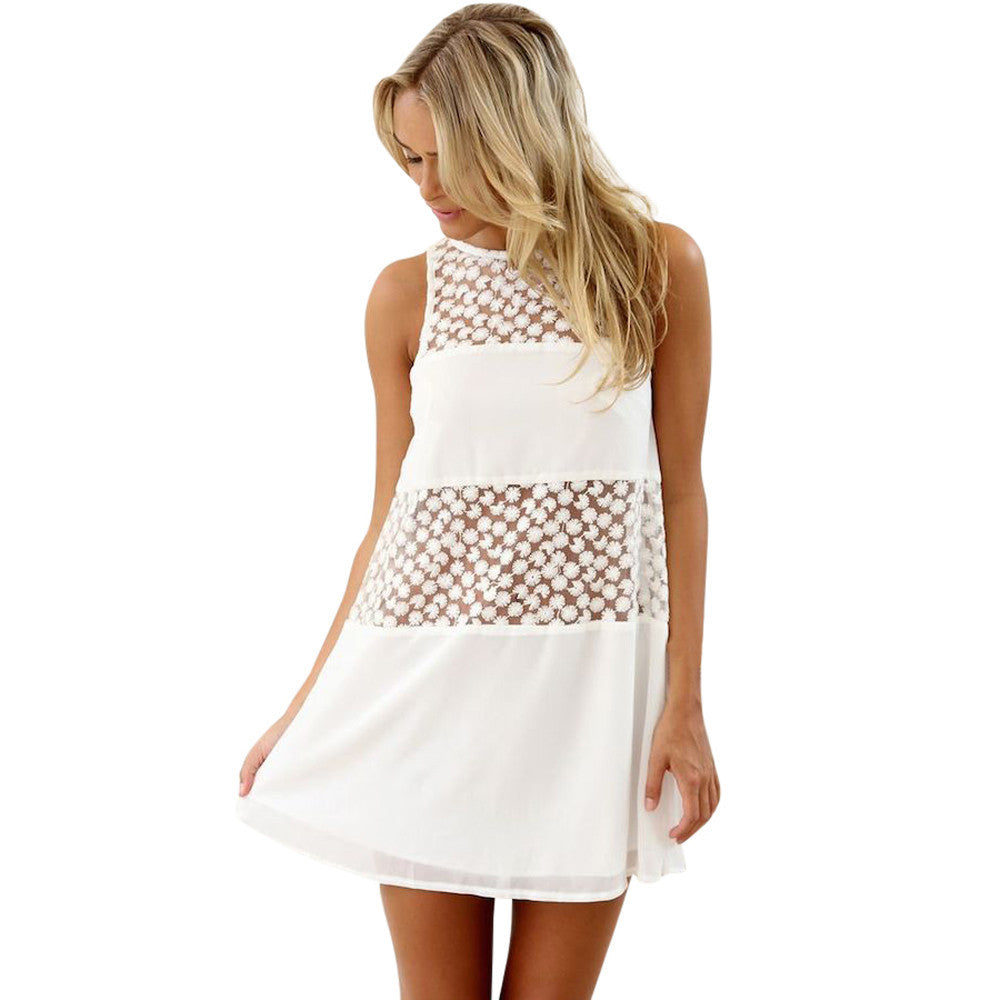 Sleeveless Lace Boho O Neck Mini Dress