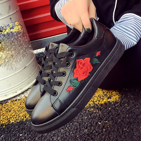 Casual Floral Embroidered Sneaker Shoes - The Clothing Company Sydney