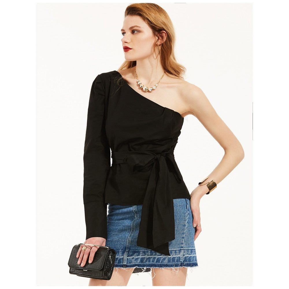 One Off Shoulder Black Day Top
