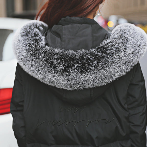 Ladies Cotton-Padded Down Parkas Coat Faux Fur Collar  Long Winter Jacket