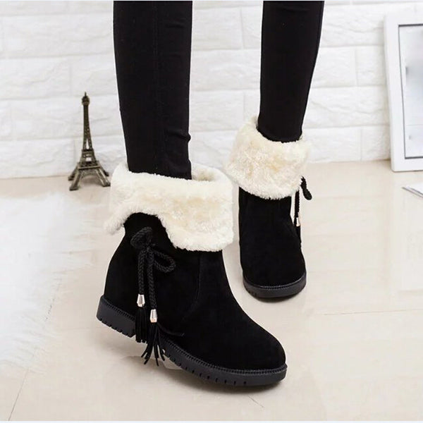 Fur Side Lace Ankle Boots - The Clothing Company Sydney