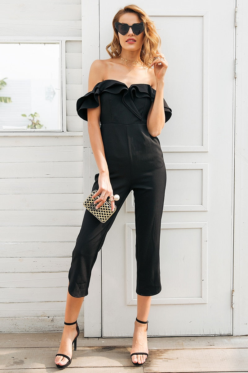 off shoulder backless black   Tiered ruffle high waist jumpsuit romper Playsuit