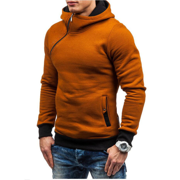 Hooded Oblique Zipper Pullover Sweatshirt