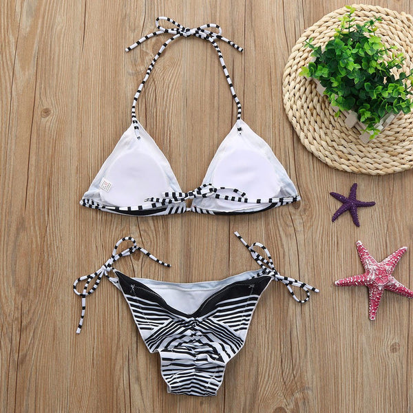 Halter Neck Push-up Padded Bra Printed  Side Tie Bikini Set Swimsuit Swimwear