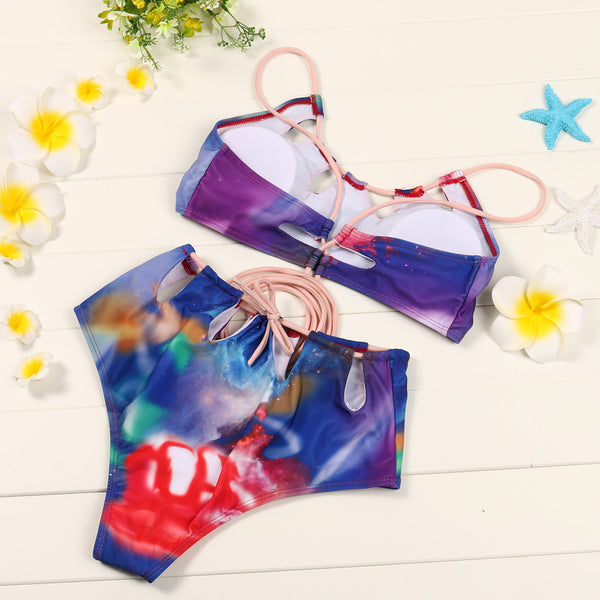 Push-Up Padded Bandage Print Bra Cross String Bikini Set Swimsuit Beachwear