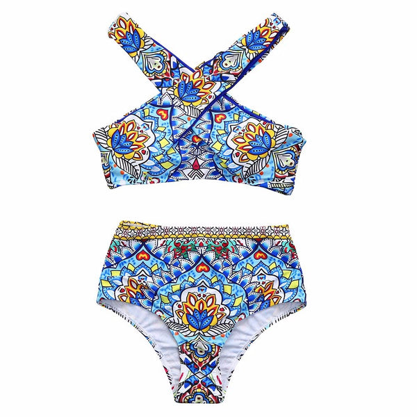 2 Piece High Waist Off Shoulder Floral Bikini Set Swimsuit Swimwear - The Clothing Company Sydney