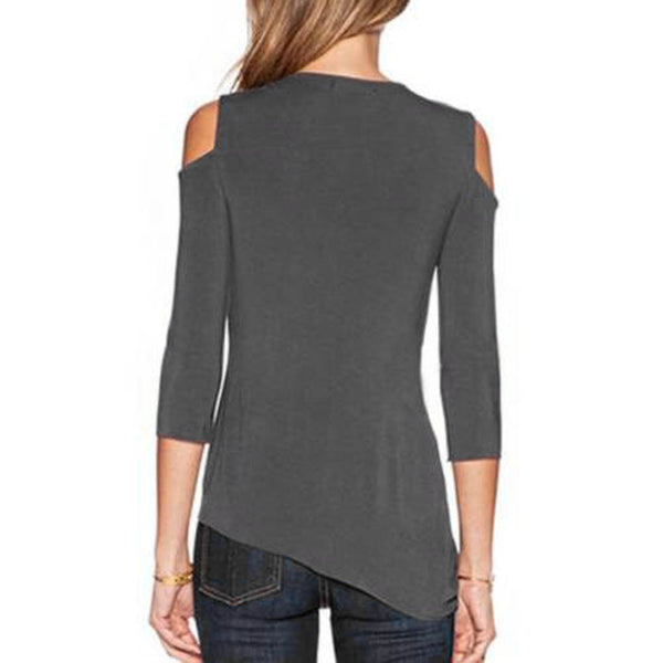 Cut Out Shoulder 3/4 Sleeve Asymmetric Casual Loose Fit Top - The Clothing Company Sydney