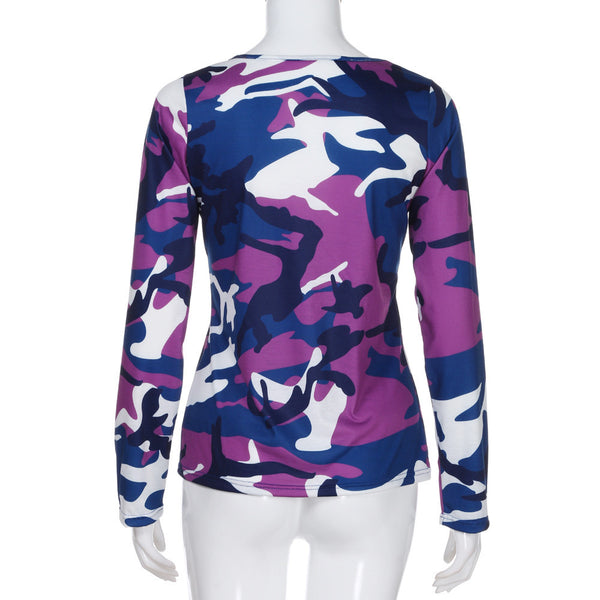 Camouflage Long Sleeve Casual Loose T Shirt Top Blouse - The Clothing Company Sydney