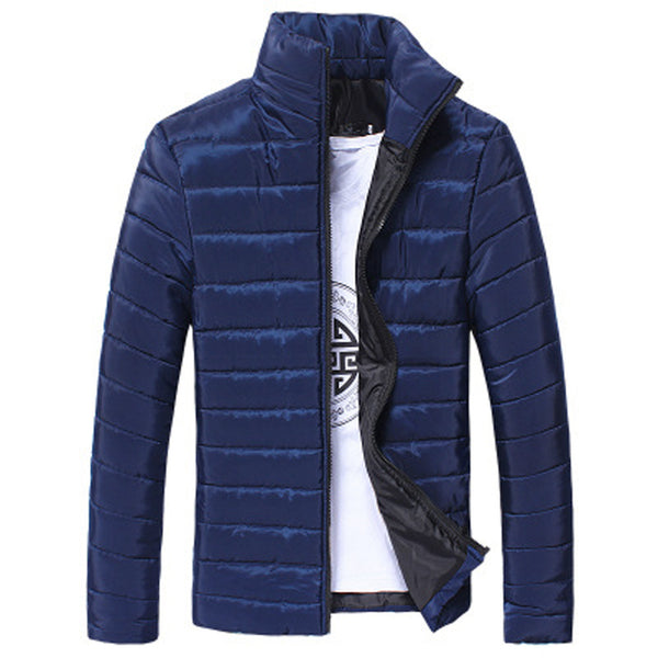 Mens Cotton Stand Zipper Warm Winter Thick Coat Jacket