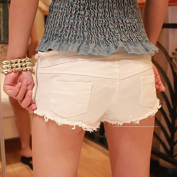 Lace Up Denim Micro Mini Shorts